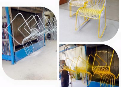 Galvanised wire chairs powder coated to give that smart but colourful effect